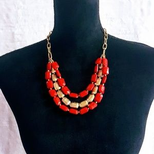 #J6 Red & Gold Rectangular Shaped Beaded Necklace